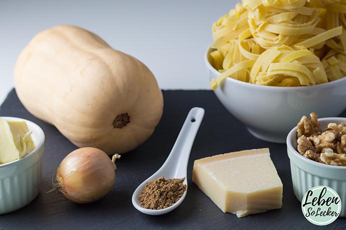 Kuerbis Pasta mit Walnuss Zutaten